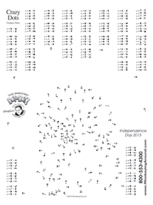 July 4th Independance Day Dot-to-Dot free puzzle sample